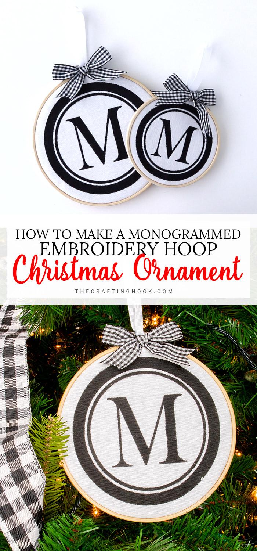 DIY DIY Monogrammed Embroidery Hoop Christmas Ornament