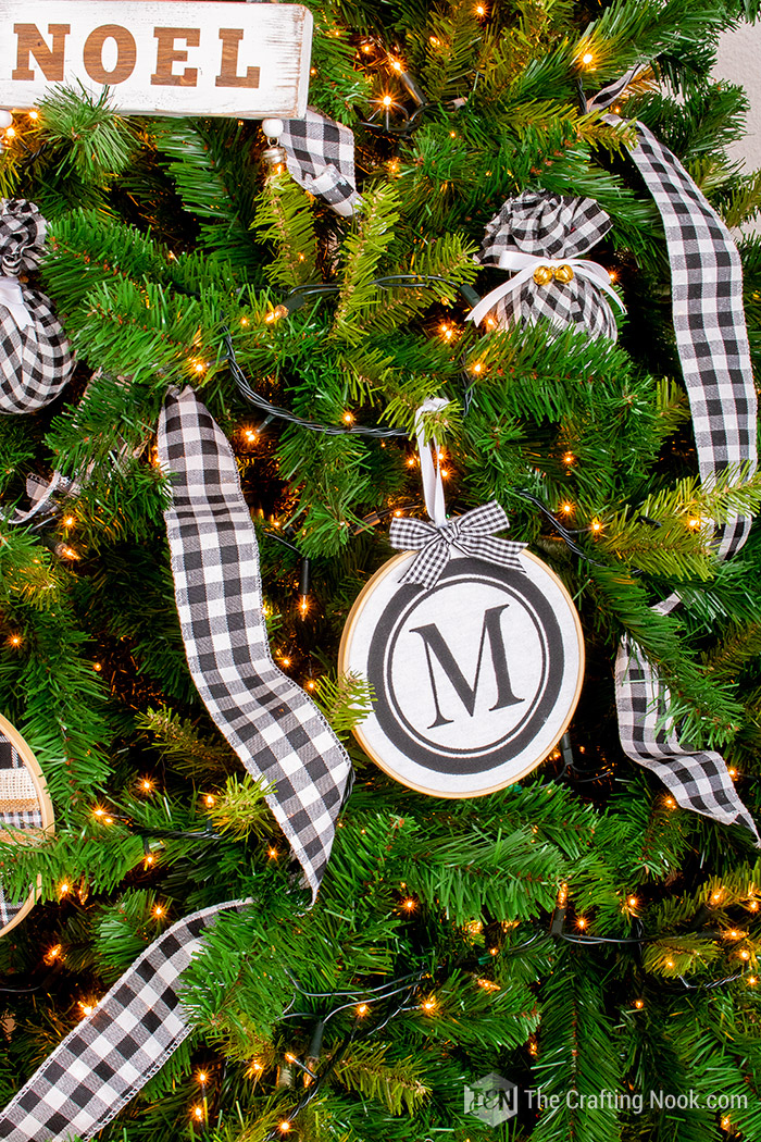 DIY Monogrammed Embroidery Hoop Christmas Ornament for the Tree