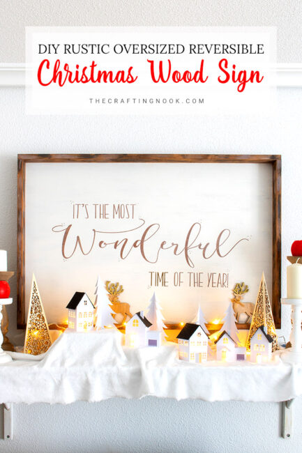 DIY Rustic Oversized Reversible Christmas Wood Sign