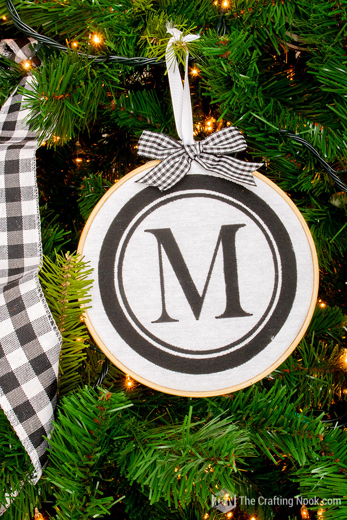 Stencilled DIY Monogrammed Embroidery Hoop Christmas Ornament