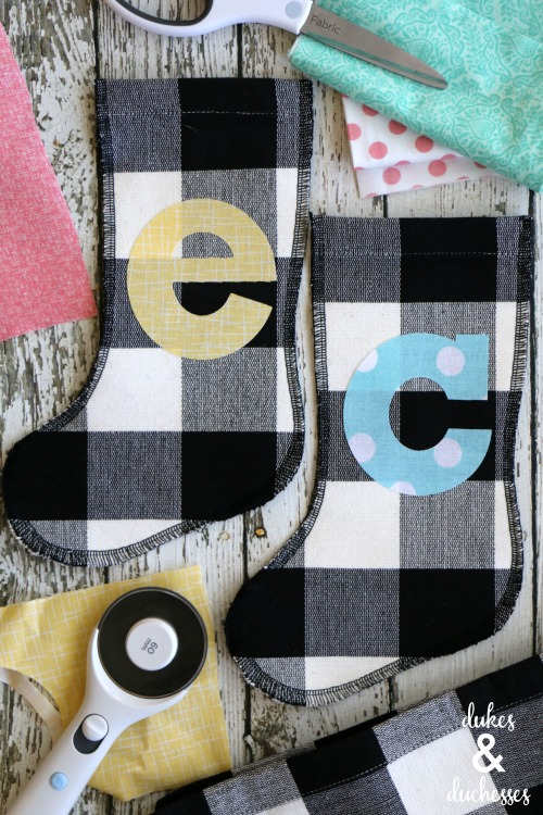 Black and White Buffalo Check Monogrammed Placemat Stockings by Dukes & Duchesses