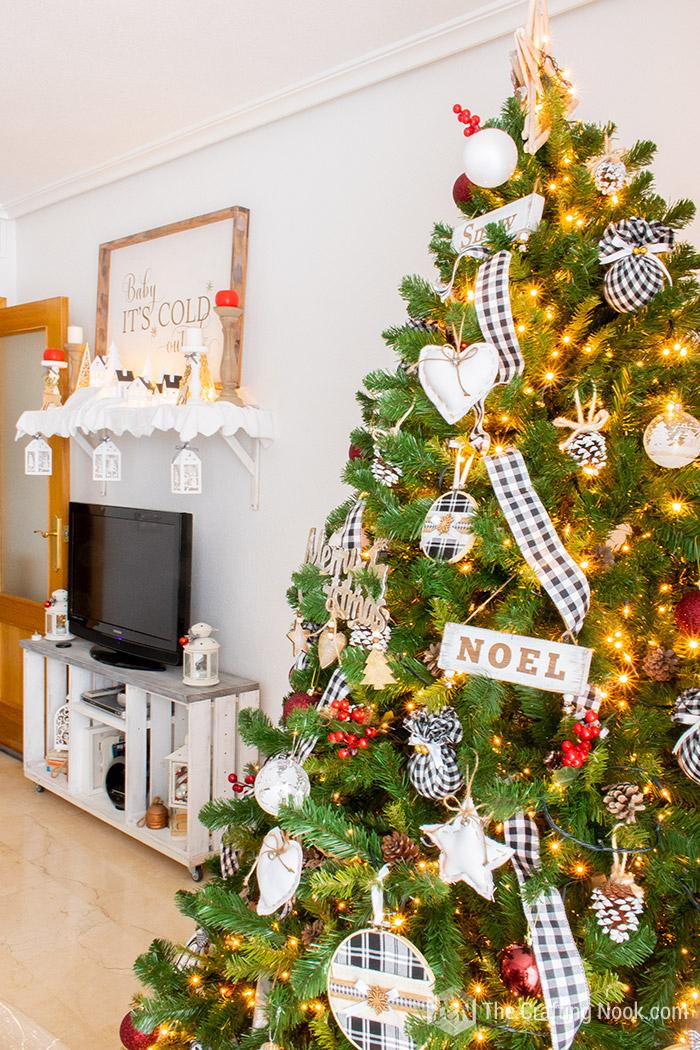 Black and White Buffalo Check Christmas Tree Christmas Village