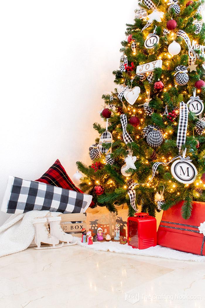 Black and White Buffalo Check Christmas Tree Decor