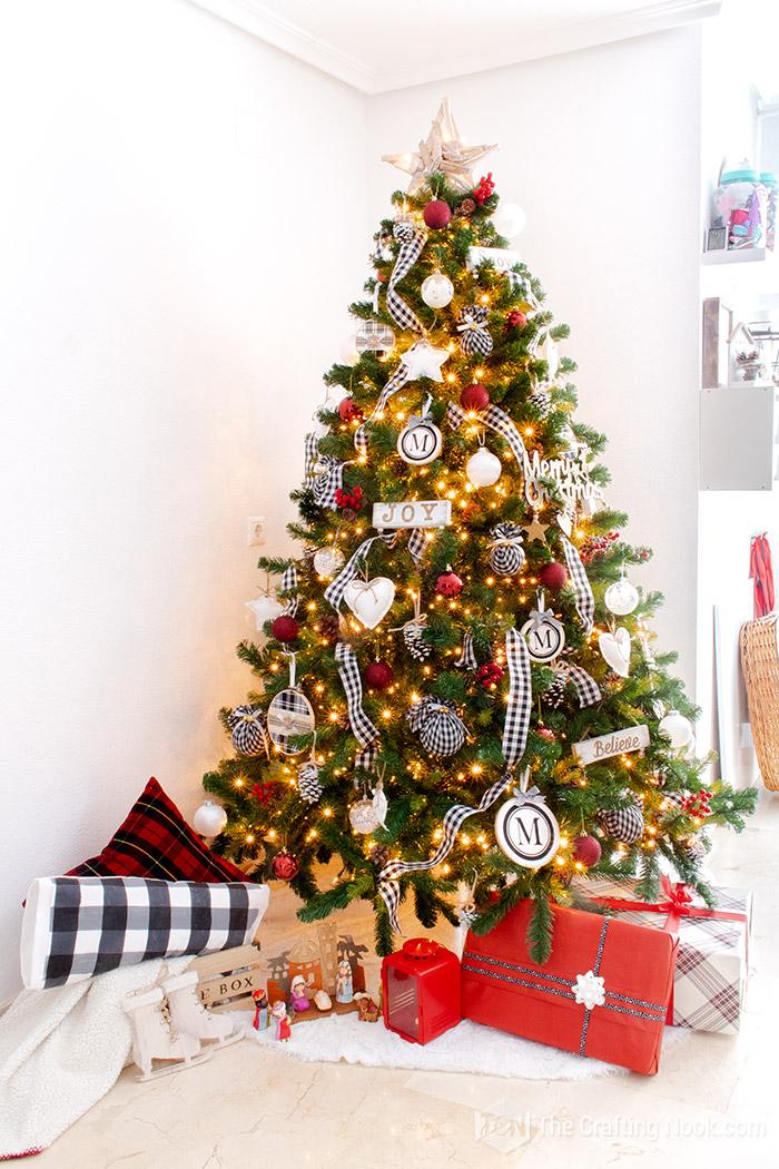 Black and White Buffalo Check Christmas Tree Elegant