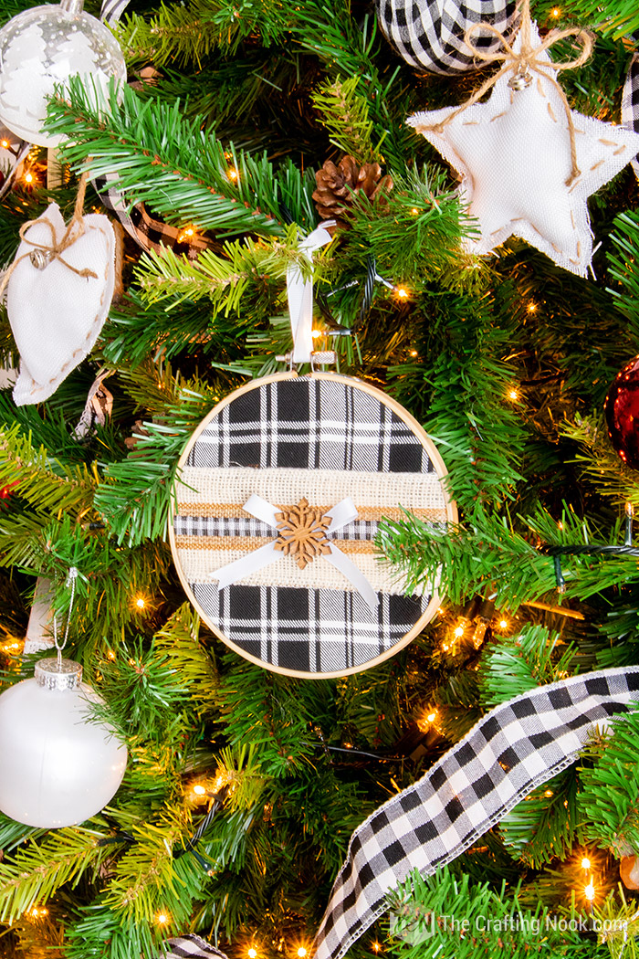 Black and White Buffalo Check Christmas Tree Embroidery Hoop Ornament