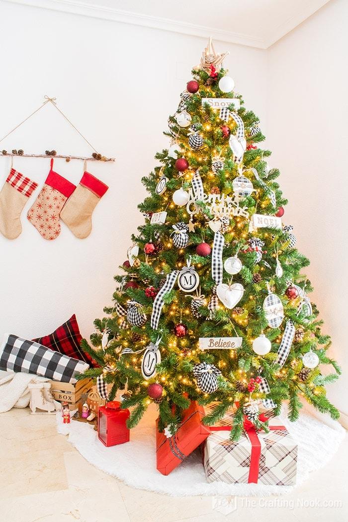 Black and White Buffalo Check Christmas Tree Magical