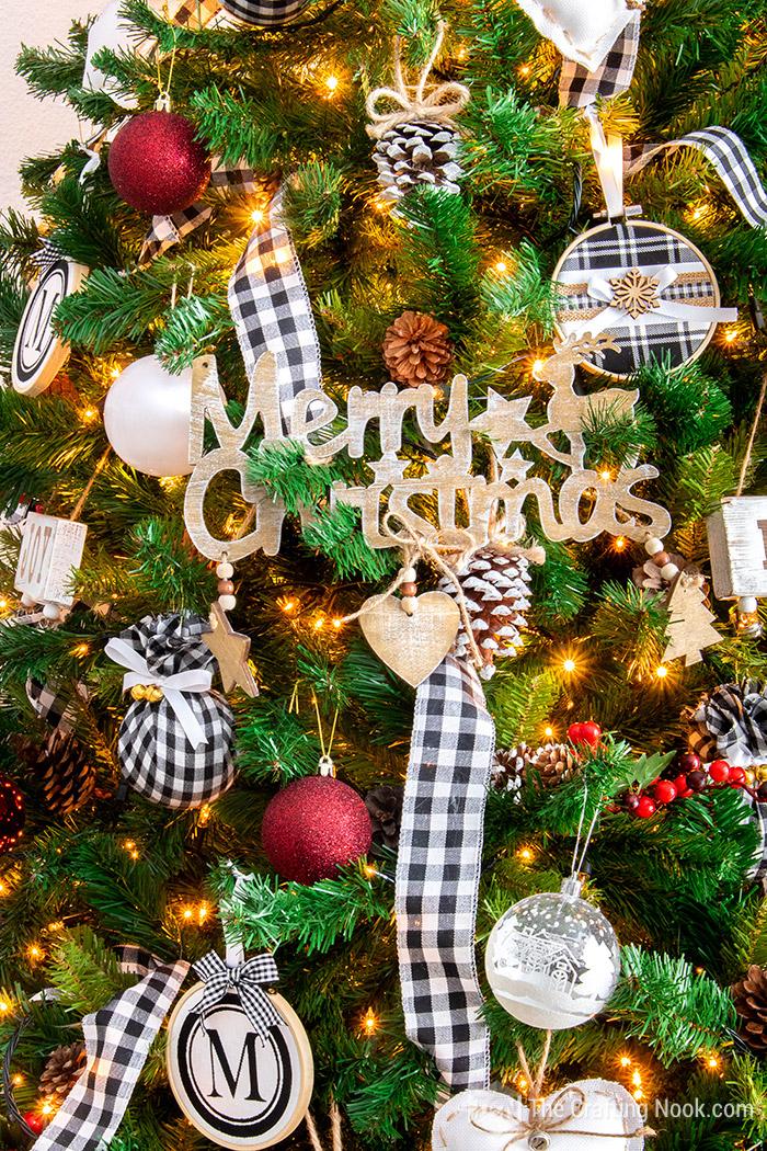 Black and White Buffalo Check Christmas Tree have a Merry Christmas