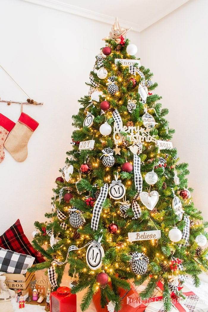 Black and White Buffalo Check Christmas Tree Ribbon