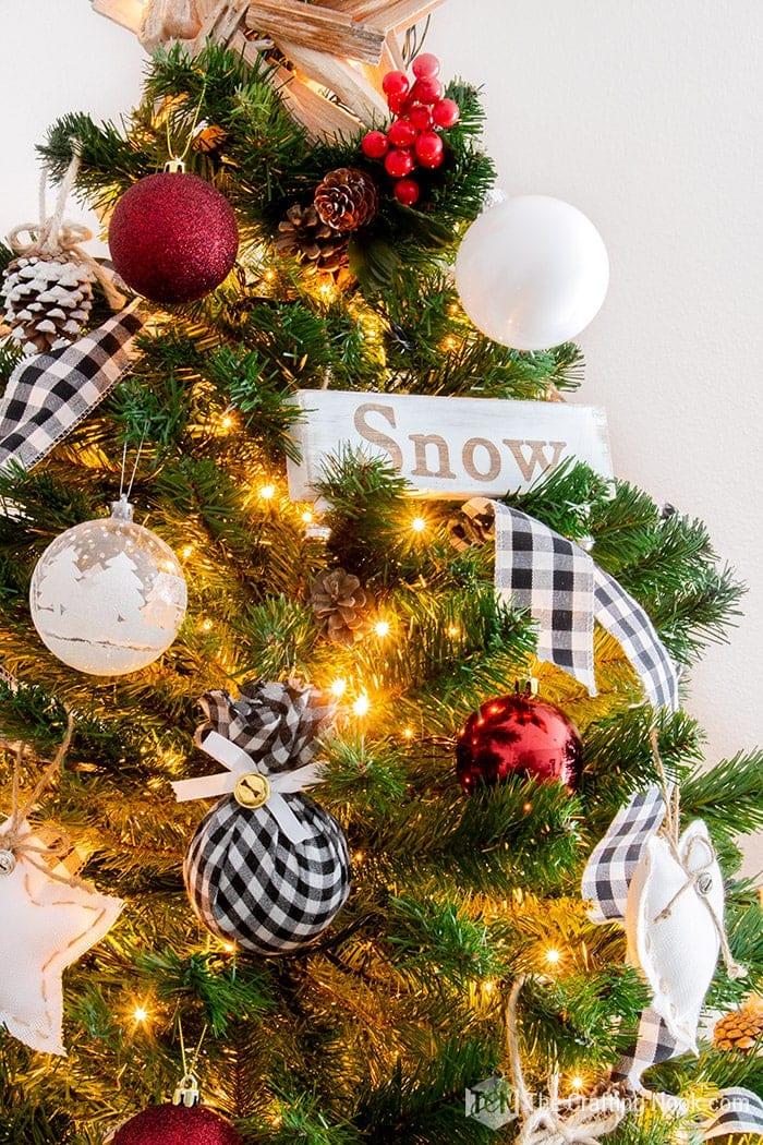 Black and White Buffalo Check Christmas Tree Snow