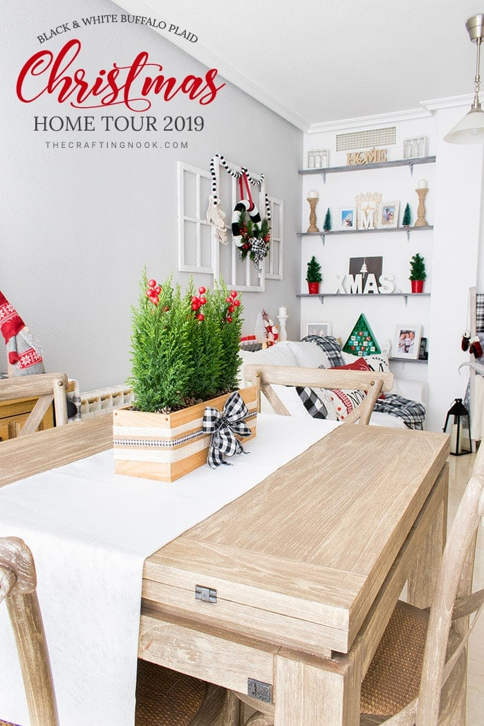 Black and White Buffalo Plaid Christmas Home Tour 2
