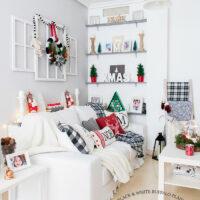 Black and White Buffalo Plaid Christmas Home Tour 1
