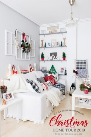 Black and White Buffalo Plaid Christmas Home Tour 2019