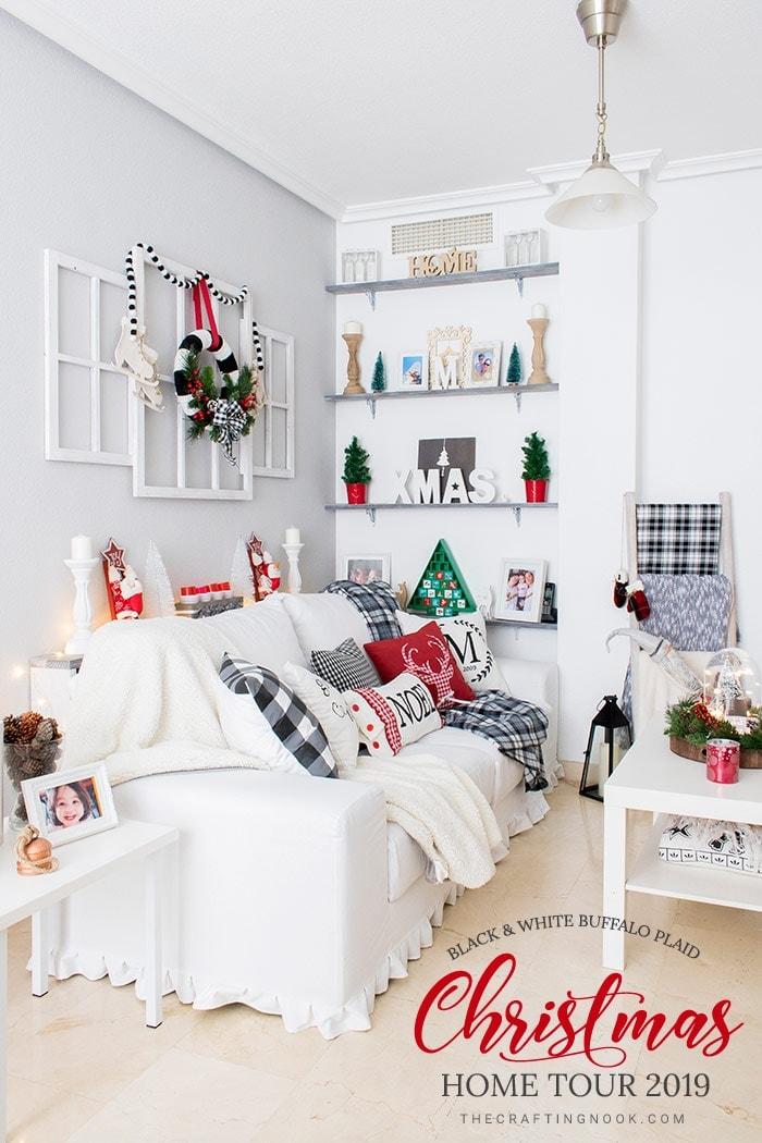 Black and White Buffalo Plaid Christmas Home Tour 2019