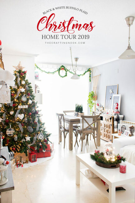 Black and White Buffalo Plaid Christmas Home Tour