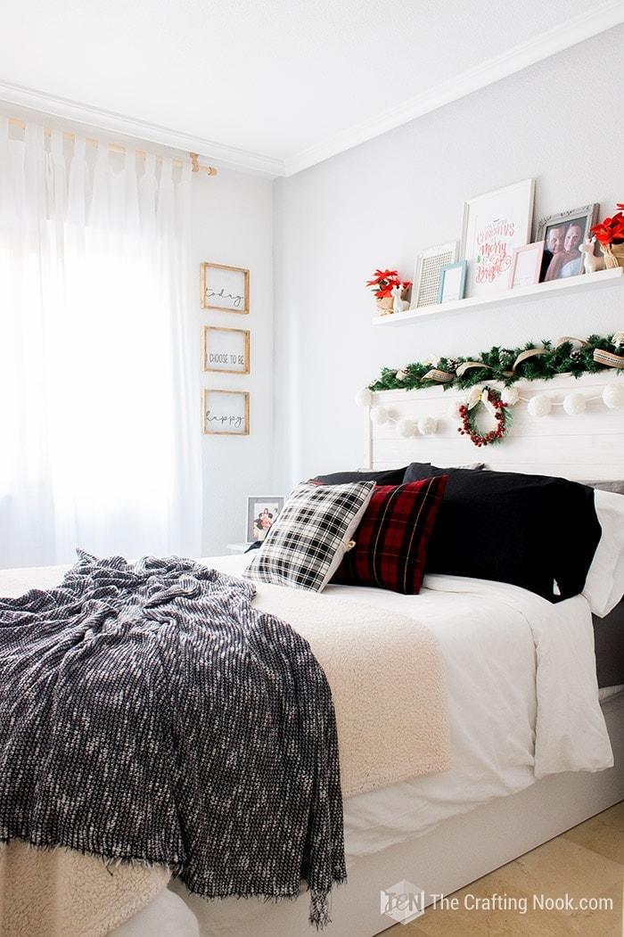 Black and White Buffalo Plaid Christmas Home Tour Bedroom Decor