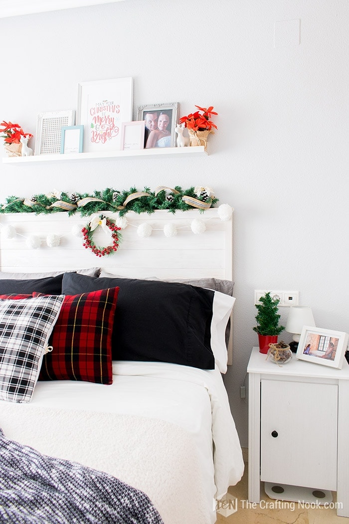 Black and White Buffalo Plaid Christmas Home Tour Bedroom Decor 2