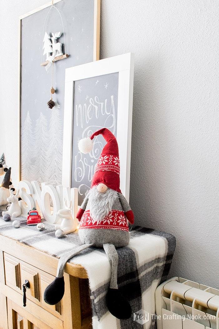 Black and White Buffalo Plaid Christmas Home Tour Gnomes 2