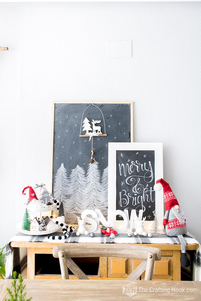 Black and White Buffalo Plaid Christmas Home Tour Sideboard
