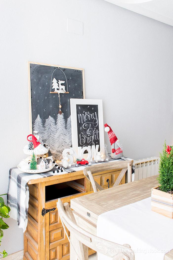 Black and White Buffalo Plaid Christmas Home Tour Sideboard 2