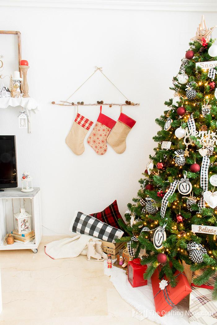 Black and White Buffalo Plaid Christmas Home Tour Stokings