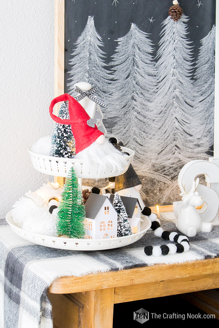 Black and White Buffalo Plaid Christmas Home Tour Styled Tiered Tray 2