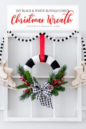 DIY Black and White Buffalo Check Christmas Wreath