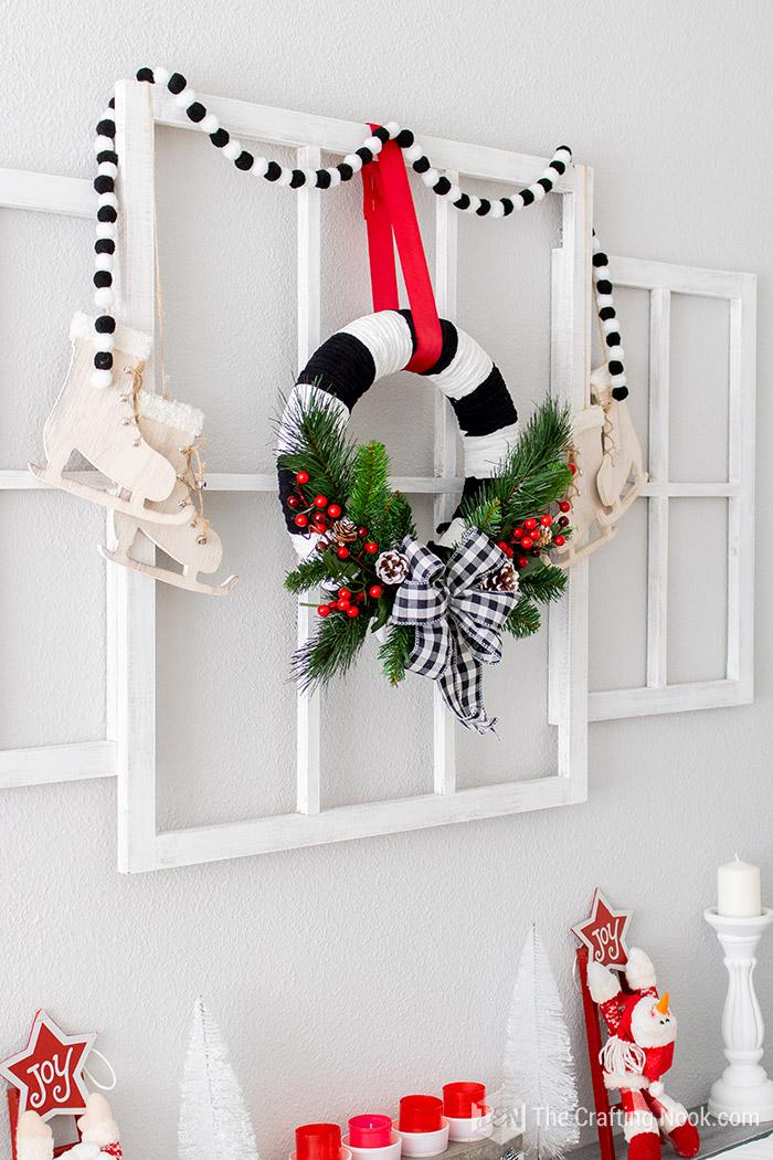 DIY Black and White Buffalo Check Christmas Wreath Cheerful