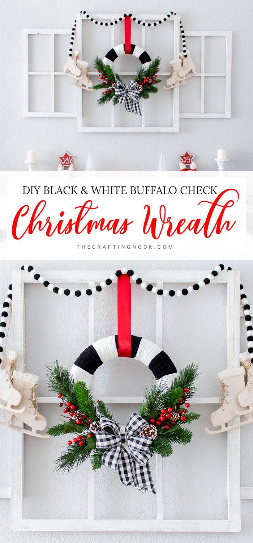 How to Make a Black and White Buffalo Check Christmas Wreath