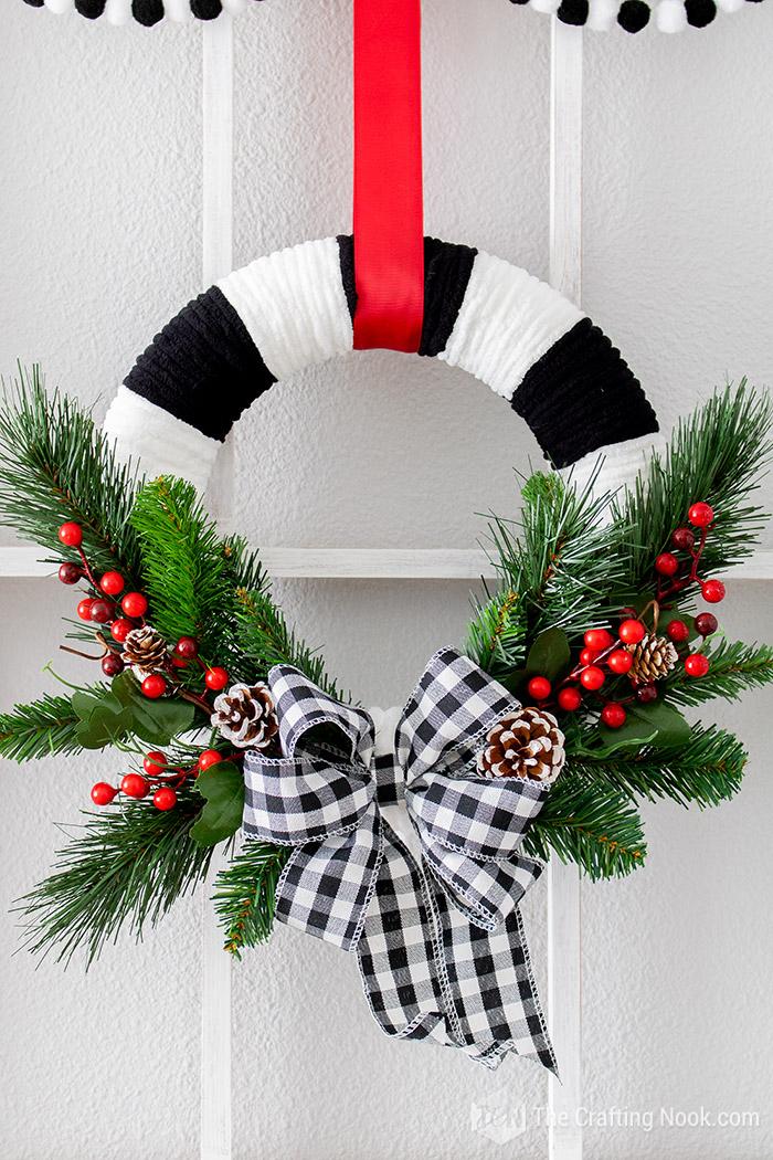 DIY Black and White Buffalo Check Christmas Wreath Tutorial
