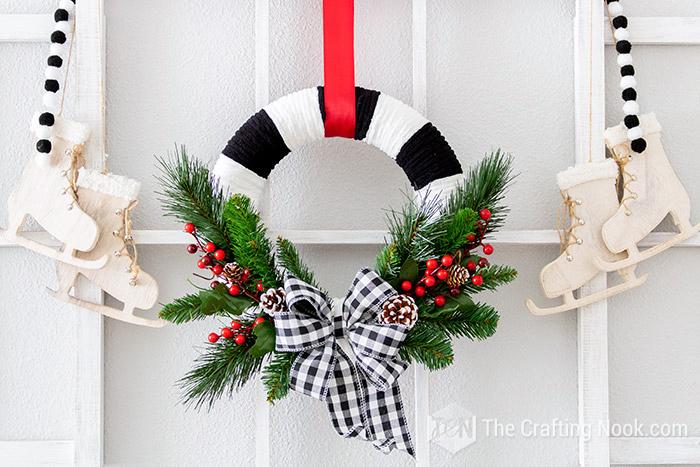 DIY Black and White Buffalo Check Christmas Wreath on a budget