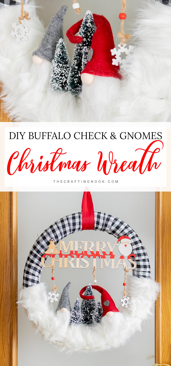 DIY Buffalo Check Gnomes ChristmasWreath PIN
