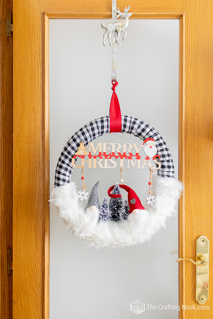 DIY Buffalo Check Gnomes Christmas Wreath Tutorial