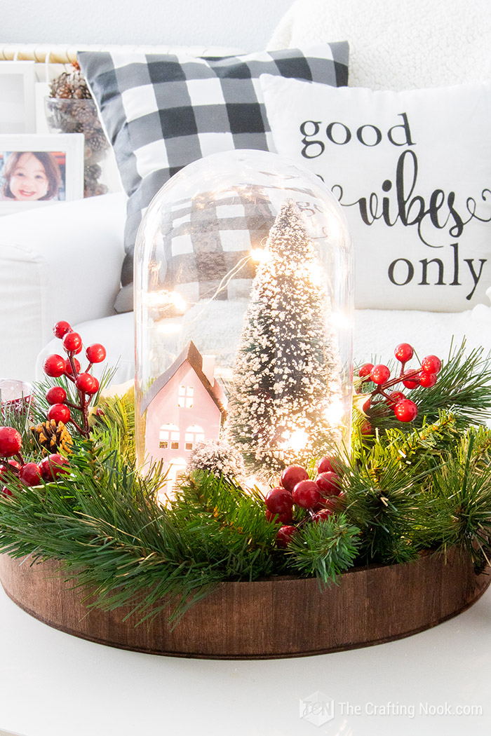 DIY Cute Winter Scene Christmas Cloche Centerpiece