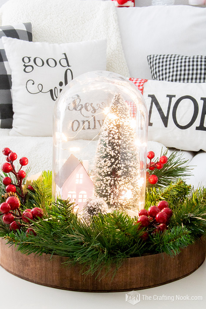 DIY Easy Winter Scene Christmas Cloche Centerpiece