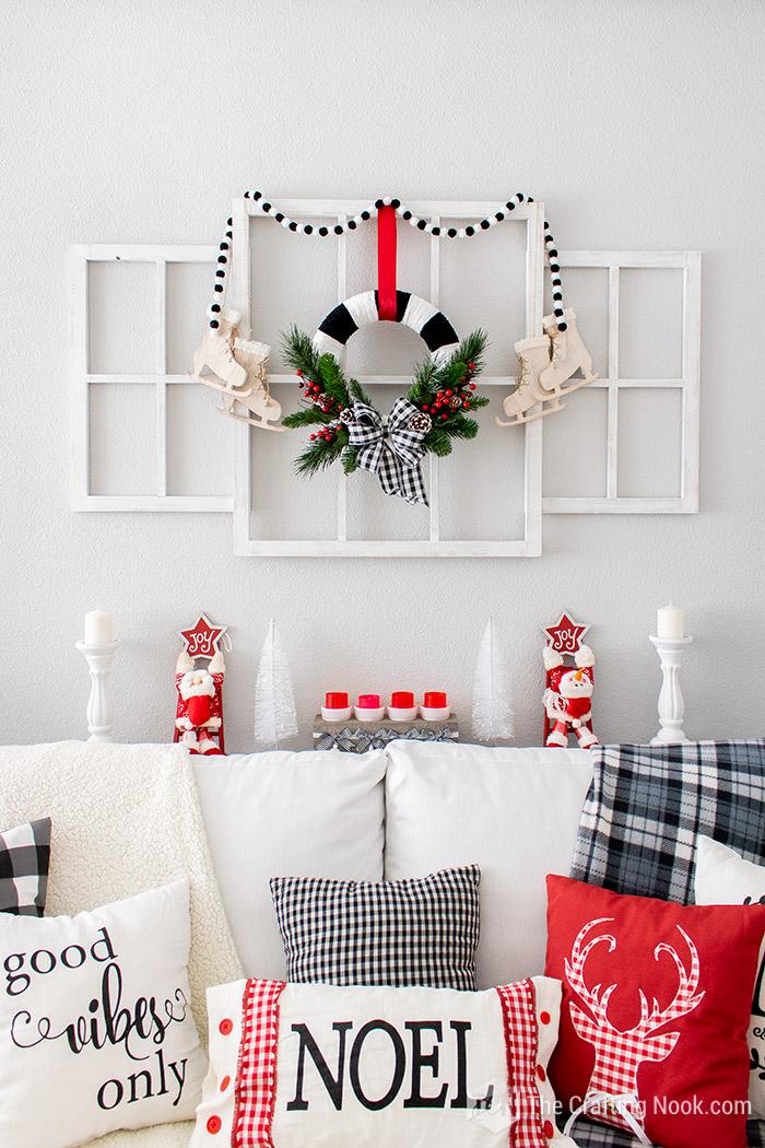 DIY Inexpensive Black and White Buffalo Check Christmas Wreath