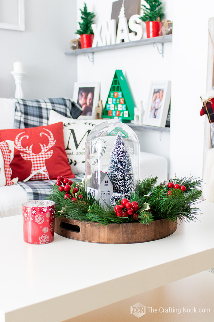 DIY Winter Scene Christmas Cloche Centerpiece Decoration