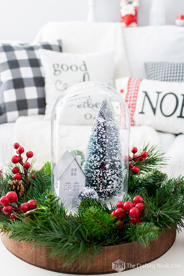 DIY Winter Scene Christmas Cloche Centerpiece Quick and Easy