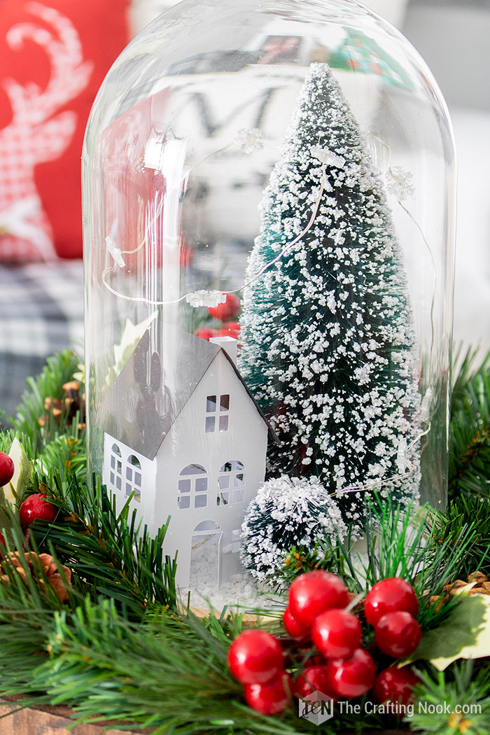 DIY Winter Scene Christmas Cloche Centerpiece Simple