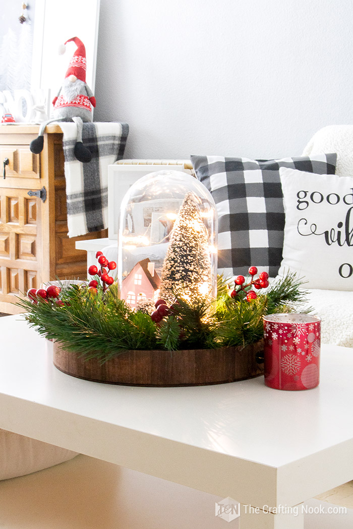 DIY Winter Scene Christmas Cloche Centerpiece Decorative