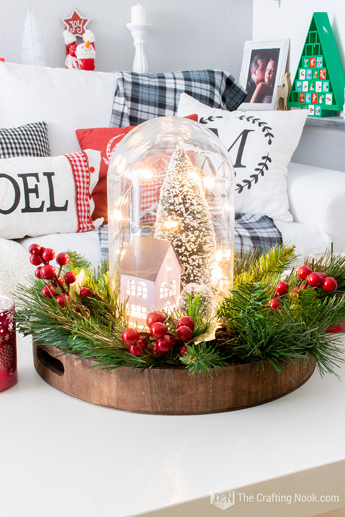 DIY Winter Scene Christmas Cloche Centerpiece on a Budget
