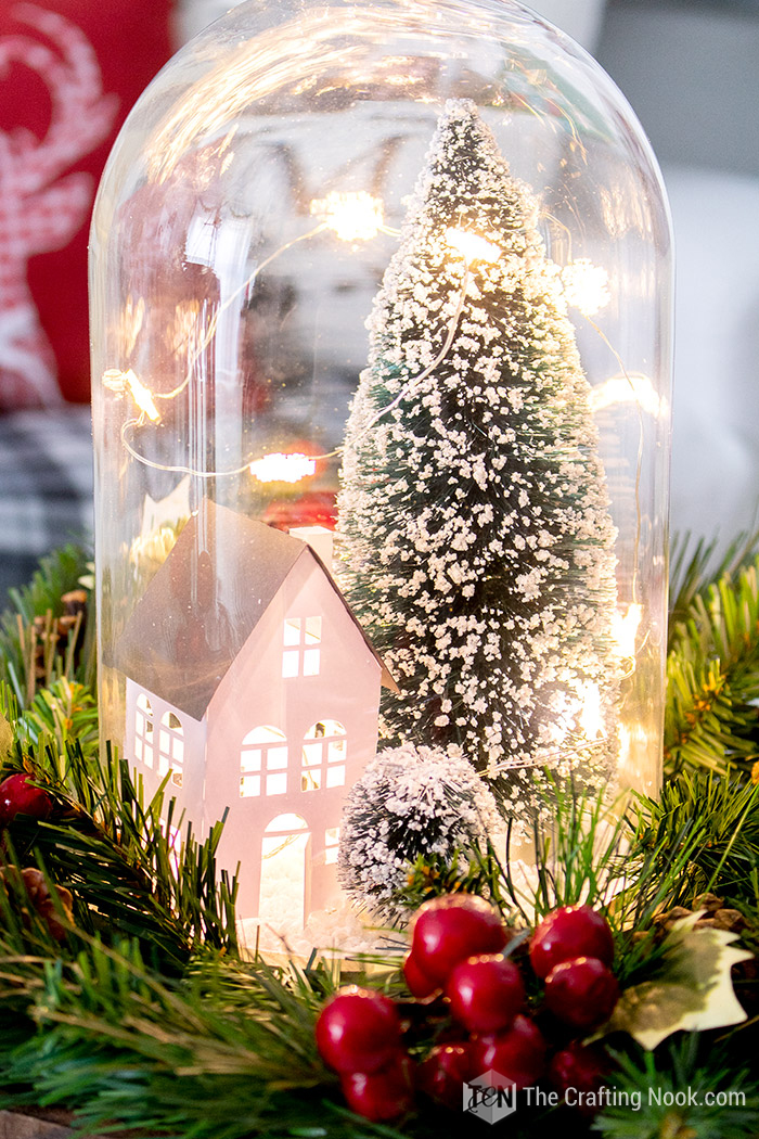 DIY Winter Wonderland Scene Christmas Cloche Centerpiece