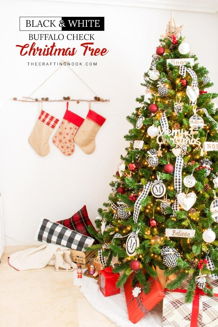 Elegant Black and White Buffalo Check Christmas Tree