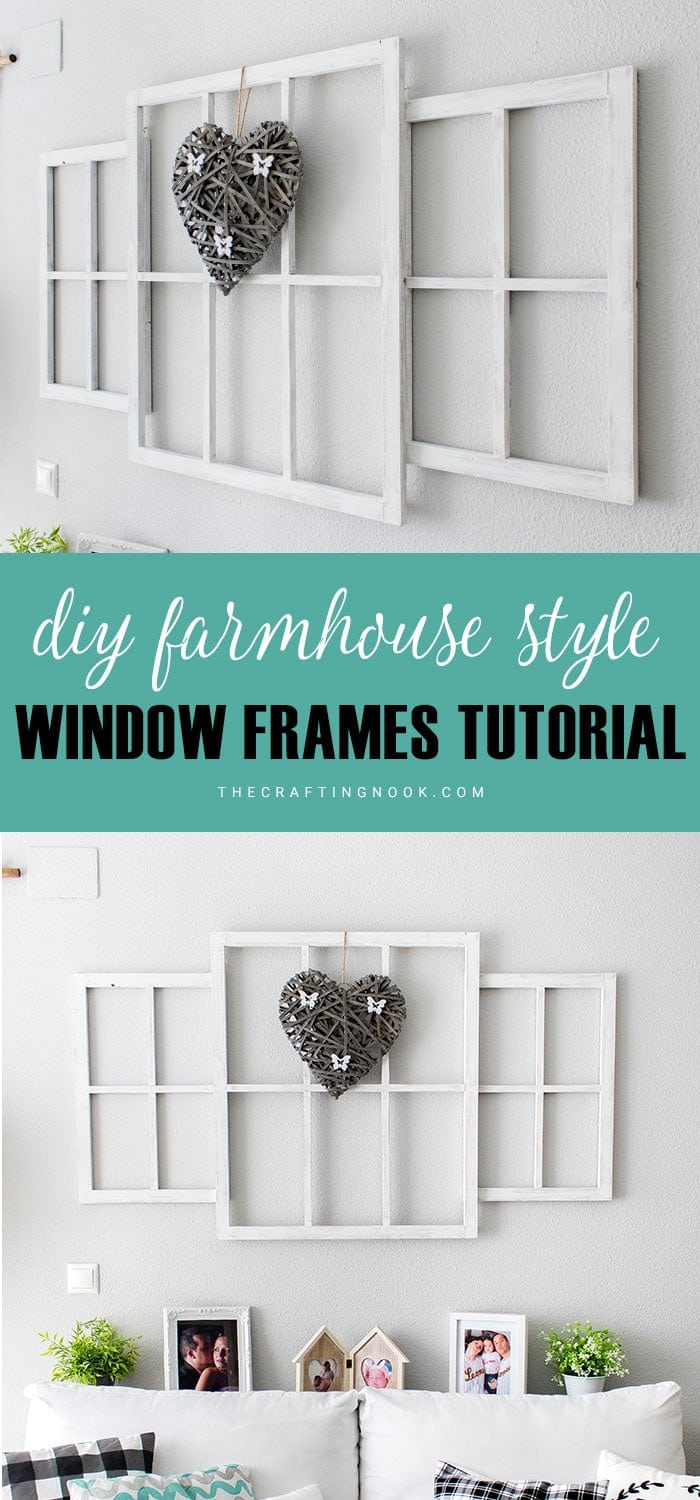 Learn how to make easy Farmhouse style Window Frames