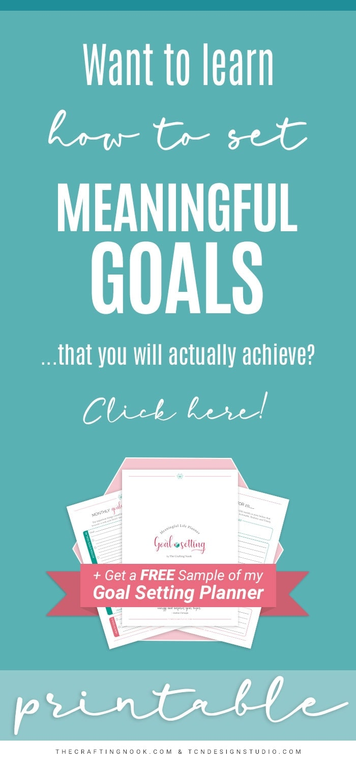 Meaningful Life Goal Setting Planner Printable PIN