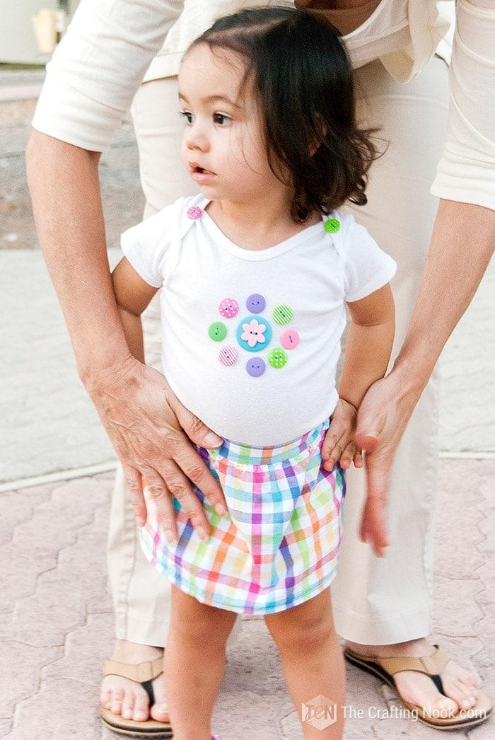 Fun Flower Button Decorated Onesie for Babies