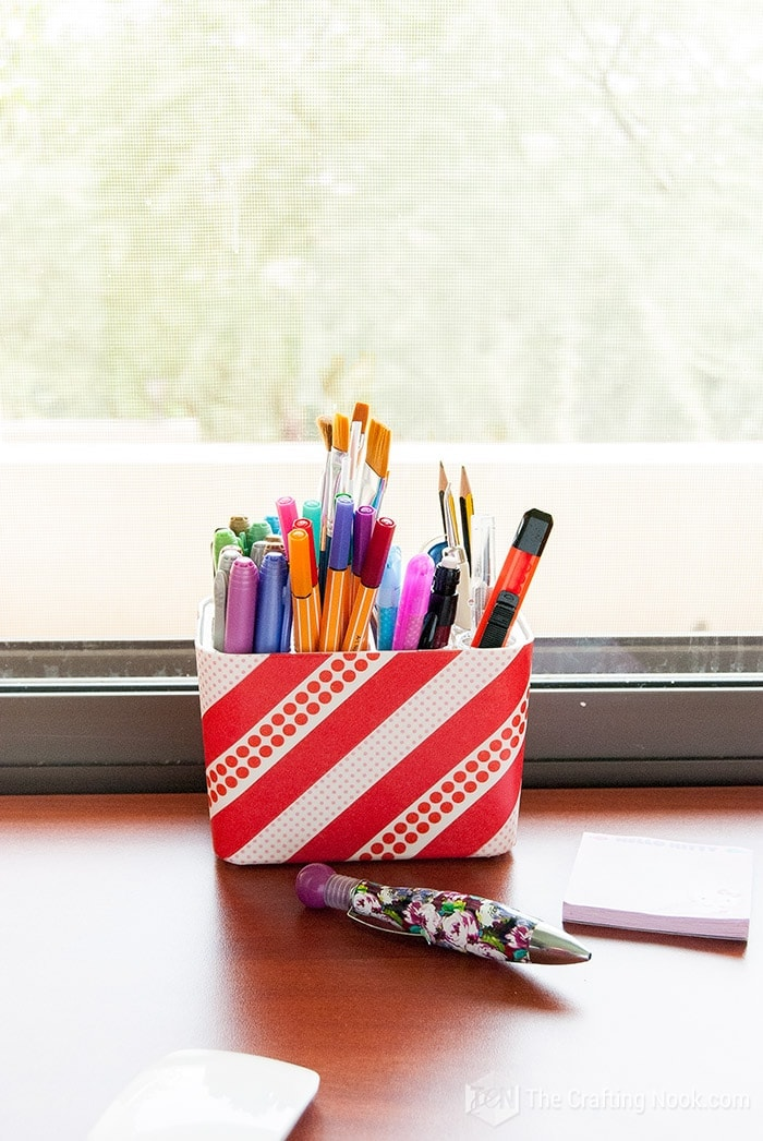 Washi Tape Decorated Pencil Holder Step by Step