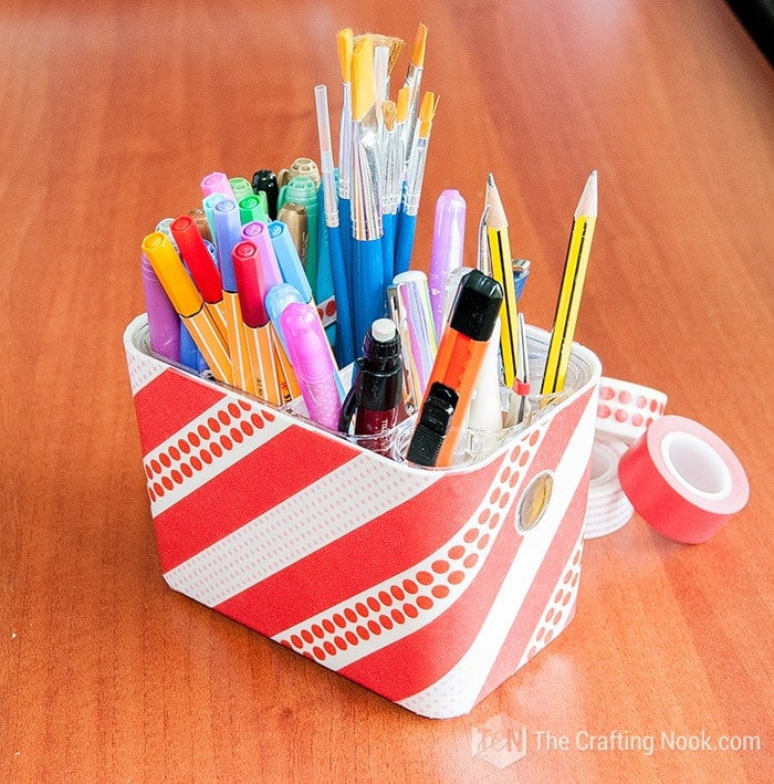 Washi Tape Decorated Pencil Holder Full Tutorial