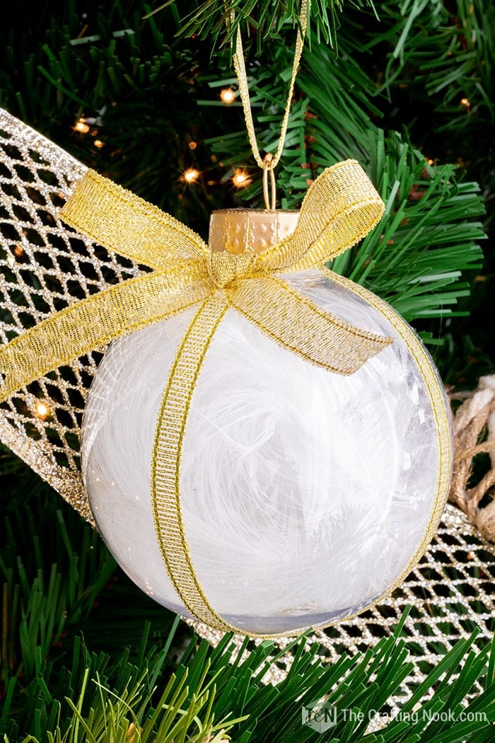 Feather Christmas Ornament with Gold ribbon bow