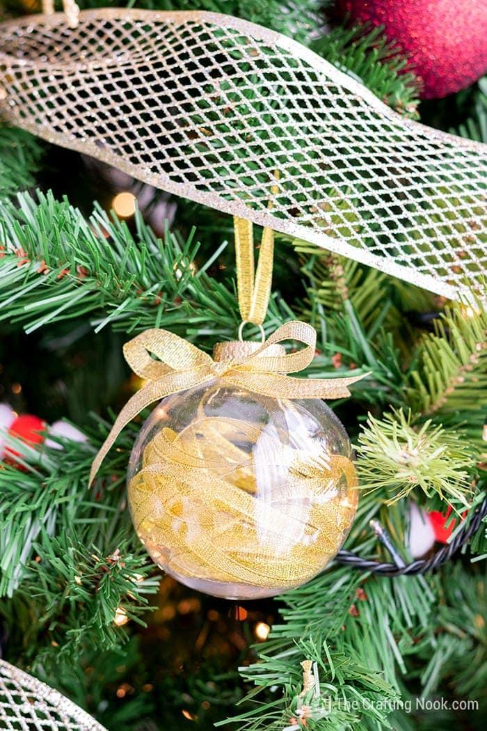 DIY Glam Gold Ribbon Filled Christmas Ornaments