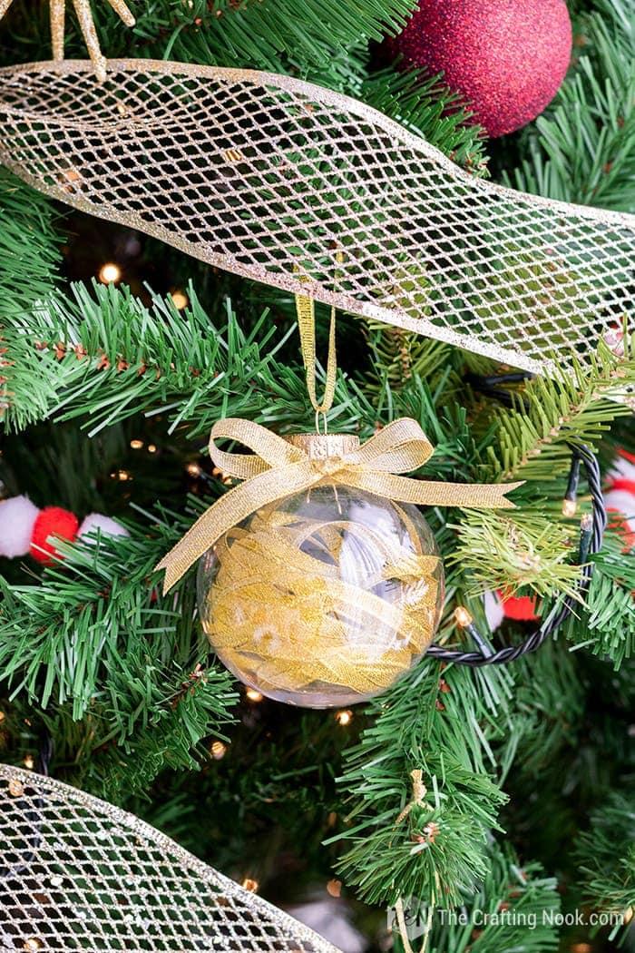 DIY Gold Ribbon Filled Christmas Ornaments Tutorial